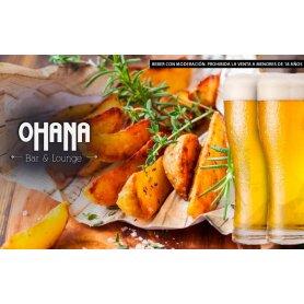 Papas rusticas con panceta y verdeo acompañado de salsa cheddar + 2 chopps de Cerveza en Ohana Bar.