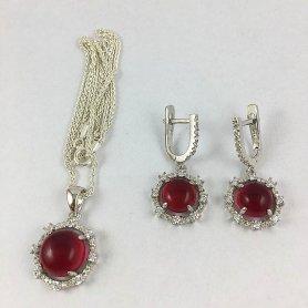 Aros con perla roja
